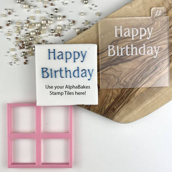 Happy Birthday Font 1 AlphaBakes Cookie Cutter and Embosser