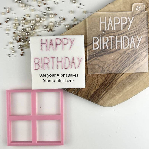 Happy Birthday Font 2 AlphaBakes Cookie Cutter and Embosser