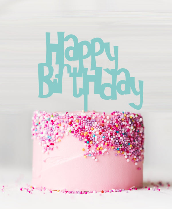 Happy Birthday Acrylic Cake Topper Spearmint Green