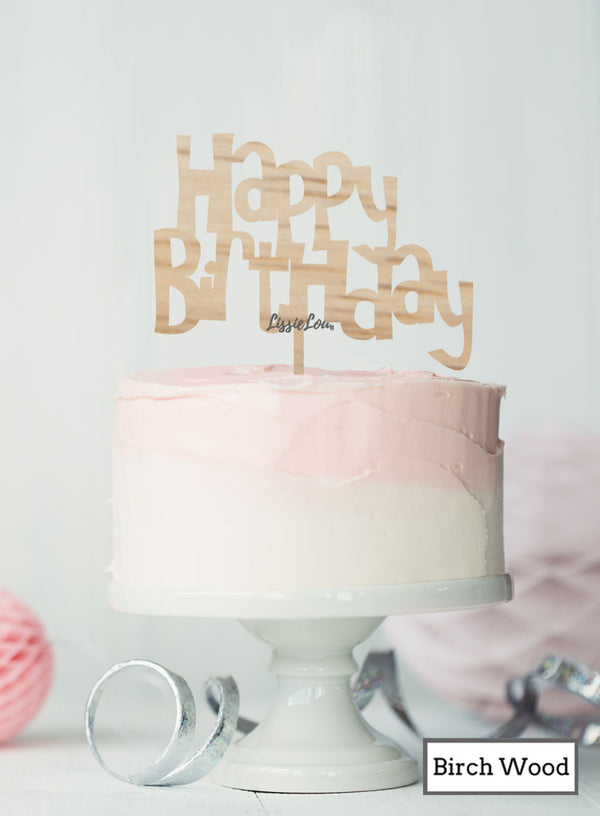 Happy Birthday Fun Cake Topper Premium 3mm Birch Wood