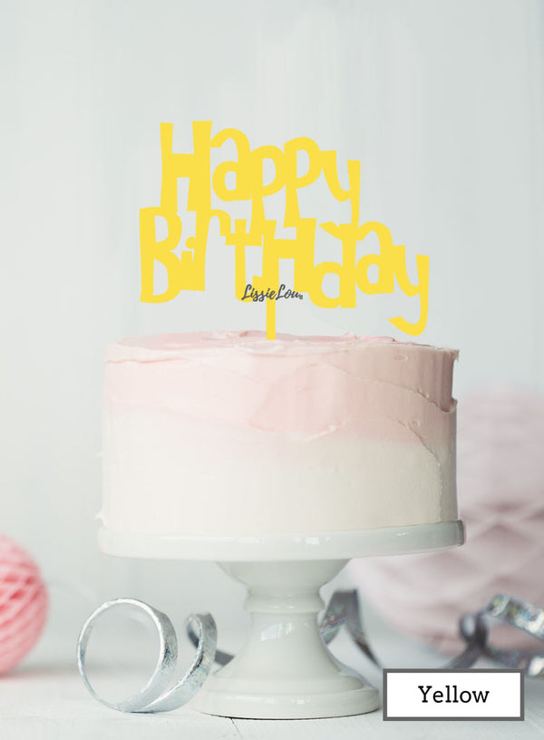 Happy Birthday Fun Cake Topper Premium 3mm Acrylic Yellow