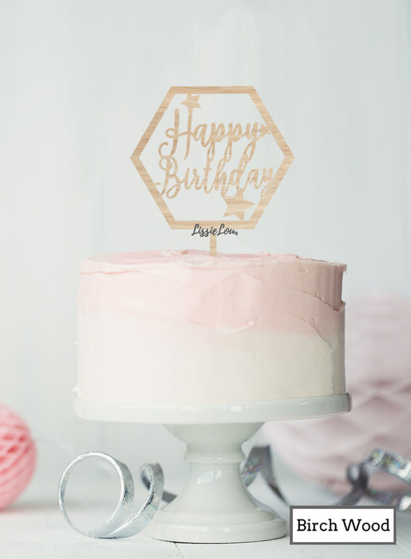Happy Birthday with Stars Hexagon Cake Topper Premium 3mm Birch Wood