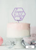 Happy Birthday with Stars Hexagon Cake Topper Premium 3mm Acrylic Lilac
