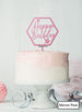 Happy Birthday with Stars Hexagon Cake Topper Premium 3mm Acrylic Mirror Pink