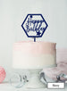 Happy Birthday with Stars Hexagon Cake Topper Premium 3mm Acrylic Navy