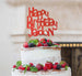 Bespoke Happy Birthday Name Fun Font Cake Topper Red