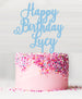 Happy Birthday Custom Acrylic Cake Topper Candy Floss Blue