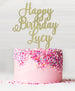 Happy Birthday Custom Acrylic Cake Topper Glitter Gold