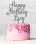 Happy Birthday Custom Acrylic Cake Topper Glitter Silver