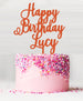 Happy Birthday Custom Acrylic Cake Topper Orange