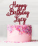 Happy Birthday Custom Acrylic Cake Topper Red