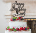 Happy Birthday Mum Cake Topper Glitter Card Black