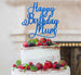 Happy Birthday Mum Cake Topper Glitter Card Dark Blue