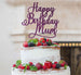 Happy Birthday Mum Cake Topper Glitter Card Dark Purple