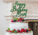 Happy Birthday Mum Cake Topper Glitter Card Green