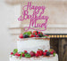 Happy Birthday Mum Cake Topper Glitter Card Hot Pink