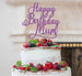 Happy Birthday Mum Cake Topper Glitter Card Light Purple