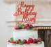 Happy Birthday Mum Cake Topper Glitter Card Red