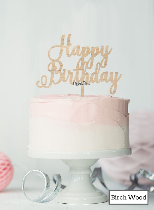 Happy Birthday Pretty Cake Topper Premium 3mm Birch Wood