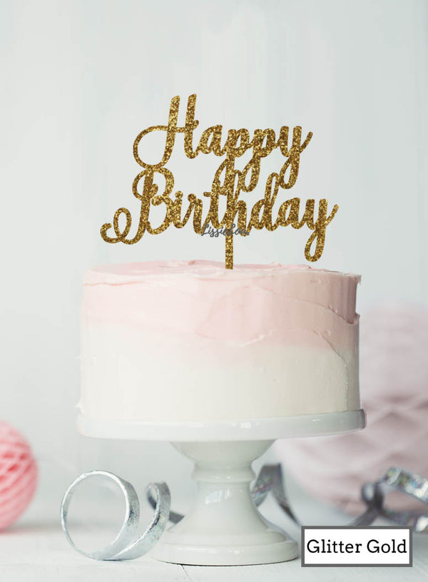 Happy Birthday Pretty Cake Topper Premium 3mm Acrylic Glitter Gold