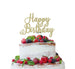 Happy Birthday Pretty Cake Topper Glitter Card Gold