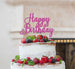 Happy Birthday Pretty Cake Topper Glitter Card Hot Pink