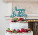 Happy Birthday Pretty Cake Topper Glitter Card Light Blue