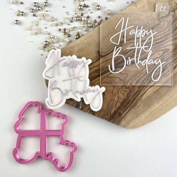 Happy Birthday Style 1 Cookie Cutter and Embosser