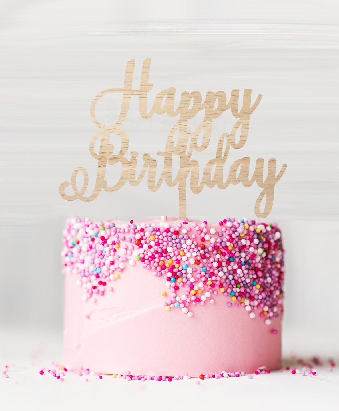 Wondrous Happy Birthday Pretty Cake Topper Acrylic Lissielou Personalised Birthday Cards Veneteletsinfo