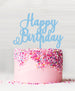 Happy Birthday Acrylic Cake Topper Candy Floss Blue