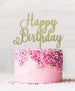 Happy Birthday Acrylic Cake Topper Glitter Gold