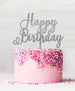 Happy Birthday Acrylic Cake Topper Glitter Silver