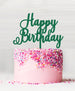 Happy Birthday Acrylic Cake Topper Green