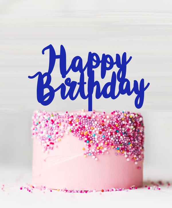 Happy Birthday Acrylic Cake Topper Blue
