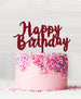 Happy Birthday Acrylic Cake Topper Red