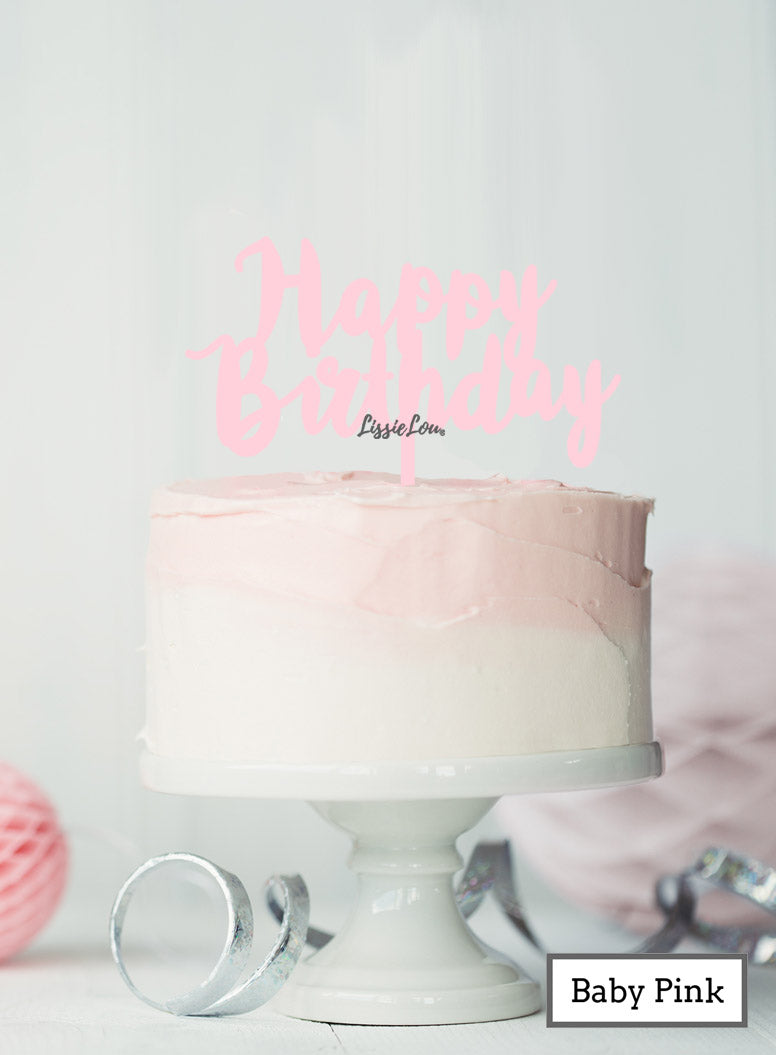 Happy Birthday Swirly Cake Topper Premium 3mm Acrylic Baby Pink