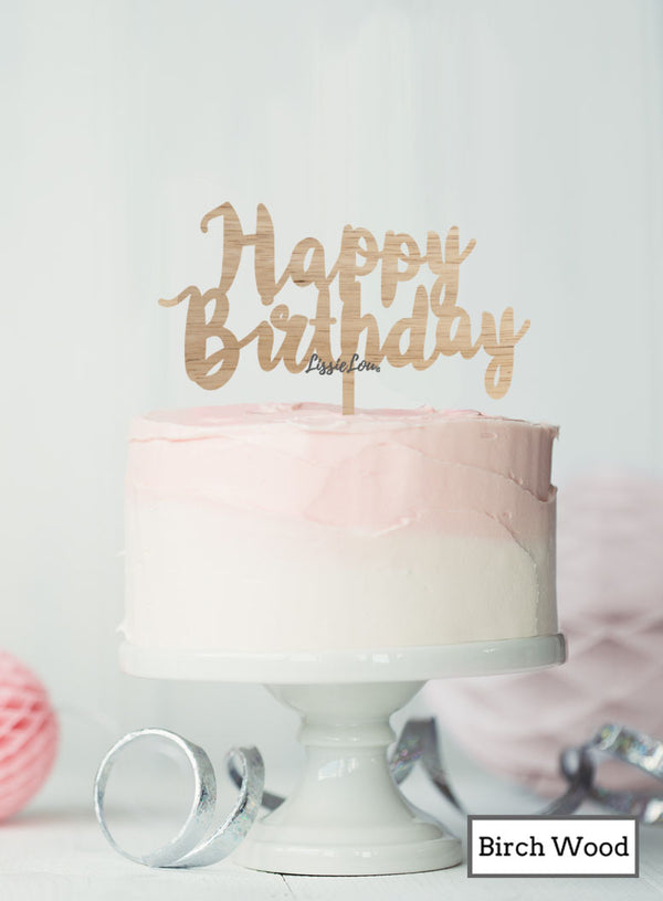 Happy Birthday Swirly Cake Topper Premium 3mm Birch Wood