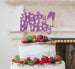 Happy Birthday Fun with Champagne Glasses Cake Topper Glitter Card Light Purple
