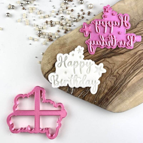 Happy Birthday with Stars Cookie Cutter and Stamp
