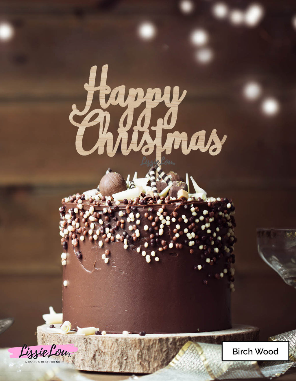 Happy Christmas Pretty Cake Topper Premium 3mm Birch Wood
