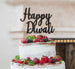 Happy Diwali Cake Topper Glitter Card Black