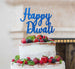 Happy Diwali Cake Topper Glitter Card Dark Blue