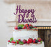 Happy Diwali Cake Topper Glitter Card Dark Purple