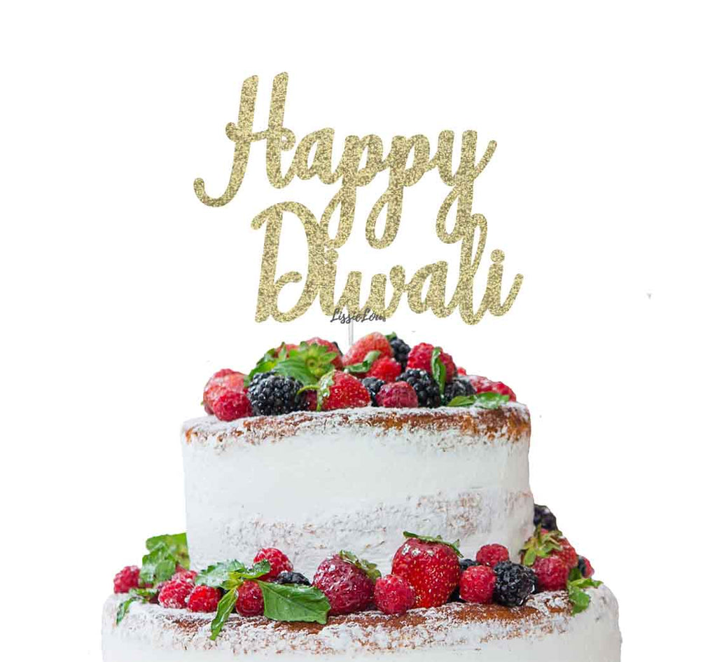 Happy Diwali Cake Topper Glitter Card Gold