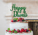 Happy Diwali Cake Topper Glitter Card Green