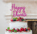 Happy Diwali Cake Topper Glitter Card Hot Pink