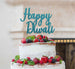Happy Diwali Cake Topper Glitter Card Light Blue