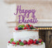 Happy Diwali Cake Topper Glitter Card Light Purple