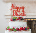 Happy Diwali Cake Topper Glitter Card Red