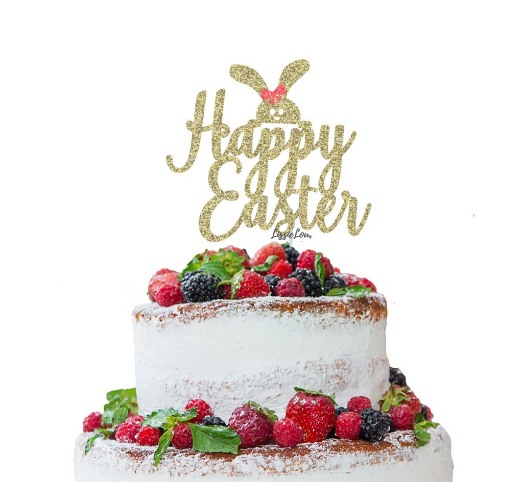 Happy Easter with Cute Bunny Cake Topper Glitter Card Gold